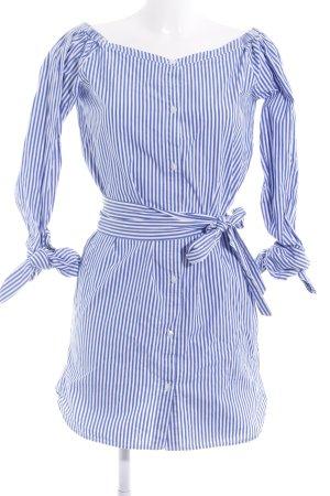 Edited Hemdblusenkleid stahlblau-weiß Streifenmuster schlichter Stil