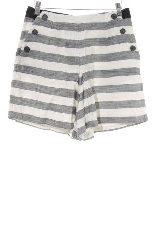 Edited High-Waist-Shorts schwarz-hellbeige Streifenmuster Beach-Look
