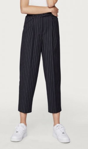 Edited High Waist Trousers blue-white polyester