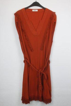Edited Kleid Gr. M orangerot mit Fransen und Kordelgürtel oversized look (18/5/541)