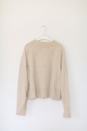 Edited Pullover Nude cropped Gr. M Beige Wolle Strickpullover