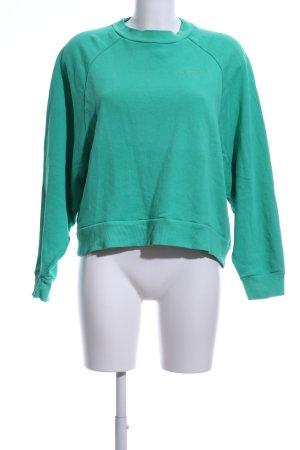 Edited Sweatshirt grün Schriftzug gestickt Casual-Look