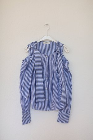 Edited The Label Bluse Blouse gestreift Cut Outs Blau Vintage Look Gr. 38 M
