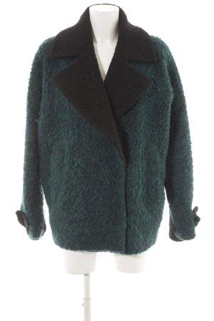 Edited Manteau d'hiver noir-bleu pétrole style décontracté