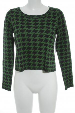 Edith & Ella Strickpullover schwarz-grün Zackenmuster Street-Fashion-Look