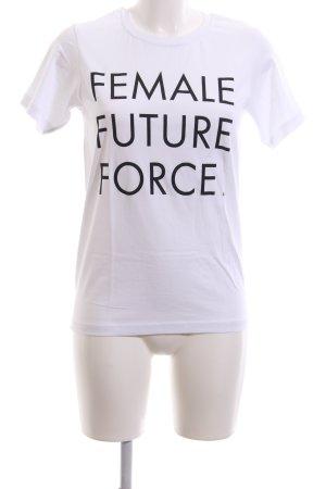 Edition F T-Shirt weiß-schwarz platzierter Druck Casual-Look