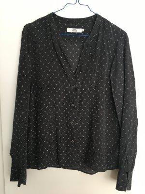 Edle 0039 Italy Bluse Seide schwarz mit weißem Muster