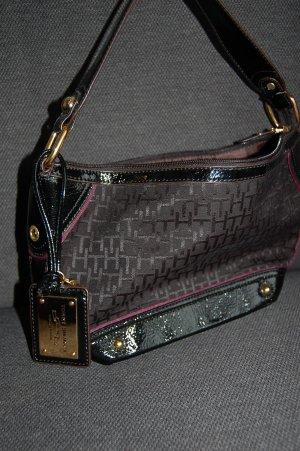 Edle Abendtasche von Tommy Hilfiger in schwarz-lila-Lack Optik