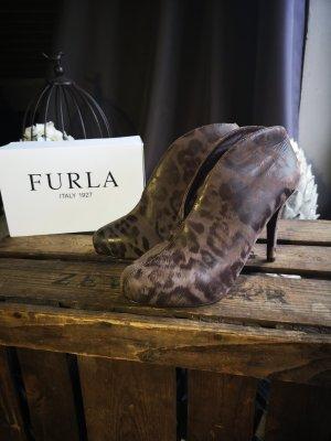 Edle Ankle Stiefeletten von Furla NP 360 Gr 37 Echtleder Leo Luxus High Heels exclusiv