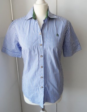 Checked Blouse white-steel blue cotton