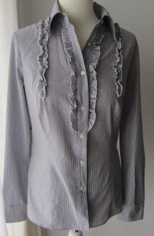 Benetton Ruche blouse antraciet-wit Katoen