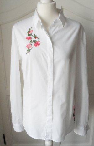 edle Bluse Gr. 42 Weiß mit Stickerei nur wenig getragen