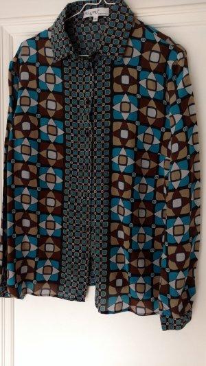 Edle Bluse Seide von Piu Piu Gr 40 Retro Muster