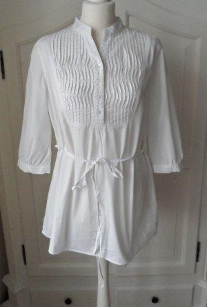 edle Bluse Tunika von Cotton made in Africa Gr. 40 Weiß wenig getragen