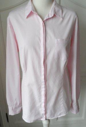 edle Bogner Bluse Gr. 42 Weiß Hellrosa gestreift wenig getragen