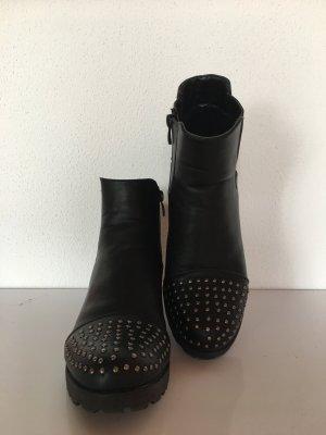 Edle Chelsea Boots mit Nieten, schwarz, gr. 39