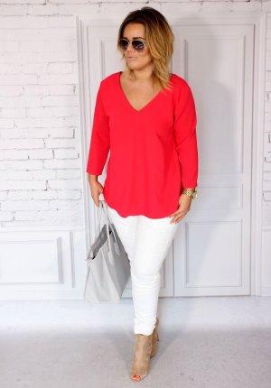 Edle Damen Bluse raffinierter Rückenausschnitt oversize Bluse Blogger Hemd Traumfarbe Tunika V-Ausschnitt Größe 42/44