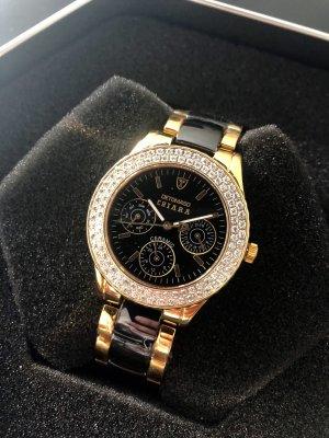Analoog horloge zwart-goud Edelstaal