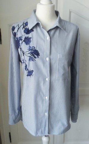 edle Darling Harbour Bluse Gr. 42 Blau Weiß gestreift mit dunkelblauer Stickerei wenig getragen