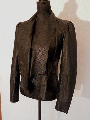 edle Designer London Fashion Blogger 80er Lederjacke Echtleder Jacke Mesh NEU