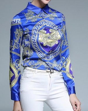 Edle Designer  Satin Bluse in gr 40 Farbe Royal Blau Gold Neu Print