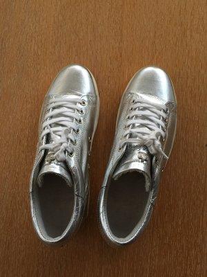 Edle Designer-Sneaker von Leather Crown, Turnschuhe Gr. 37 Silber