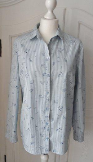 edle EDC by Esprit Bluse Gr. XL Hellblau Weiß gestreift mit Muster nur 1 x getragen