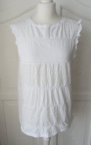 edle Esprit Bluse Gr. 2XL (42 ) Weiß mit Lochstickerei und Jerseyrücken aktuelle Kollektion