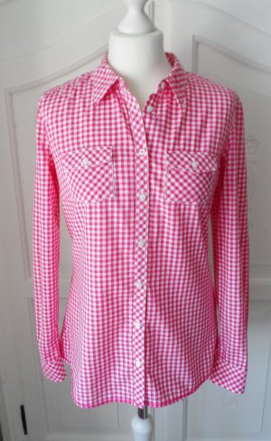 edle Esprit Bluse Gr. 36 Pink Weiß kariert wenig getragen