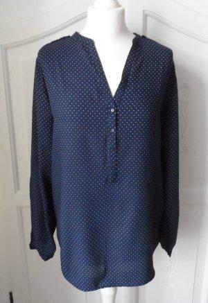 edle Esprit Bluse Gr. 42 Dunkelblau mit weißen kleinen Punkten wenig getragen