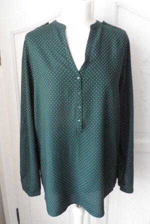 edle Esprit Bluse Gr. 42 Dunkelgrün mit weißen kleinen Punkten NEU ohne Etikett