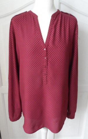 edle Esprit Bluse Gr. 42 Dunkelrot mit weißen kleinen Punkten wenig getragen