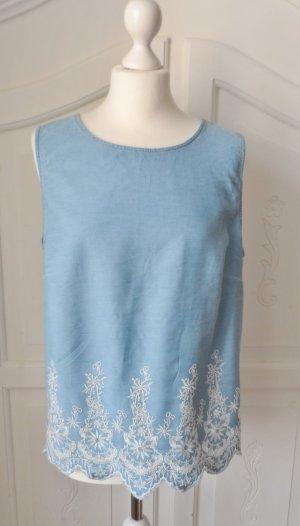 edle Esprit Bluse Gr. XL Hellblau mit weißer Stickerei nur 1 x getragen