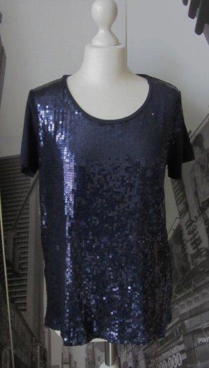 edle Esprit Bluse Shirt Gr. L mit Pailletten Dunkelblau wie NEU