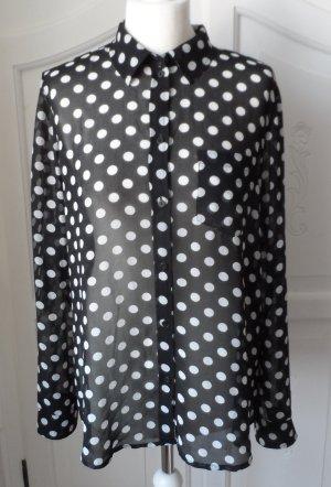 edle Esprit Chiffon Bluse Gr. 40 Schwarz mit weißen Punkten wenig getragen