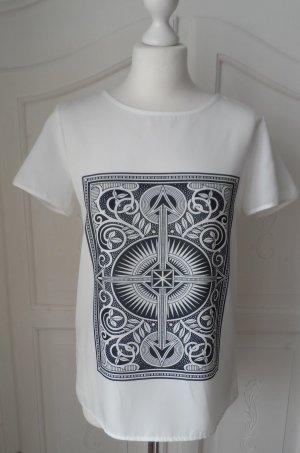 edle ESPRIT Crepe Bluse / Shirt Gr. 36 Weiß Scharz mit keltischem Muster wie NEU