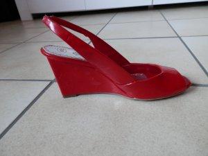edle ESPRIT Keilabsatz Peeptoes Pumps Lackleder Blogger Statement Fashion Trend