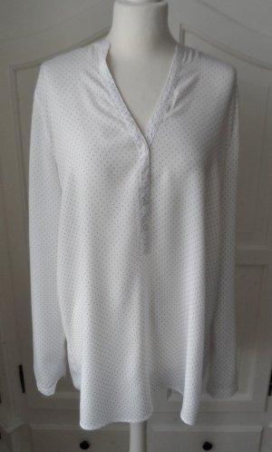 edle ESPRIT Long Bluse Weiß mit Punkten Gr. 42 aus Viscose 1 x getragen