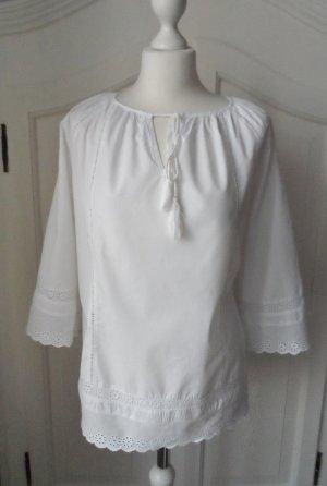 edle ESPRIT Tunika Gr. 40 mit Spitze Weiß wenig getragen