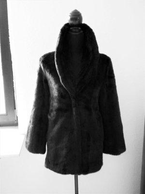 edle Felljacke Pelz Fell Fake Fur Jacke Kunstpelz Blogger Kurzmantel Moss NEU 36