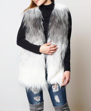 Edle Fellweste mit Webpelz Kunstfell Fake Fur