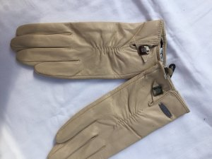 Edle gefütterte Lederhandschuhe neu mit Etikett beige Größe L