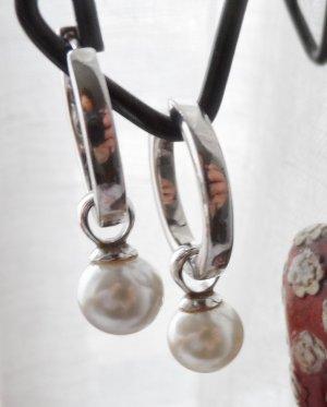 edle Giorgio Martello Klapp Creolen 925 Silber mit Perlen Anhängern wenig getragen