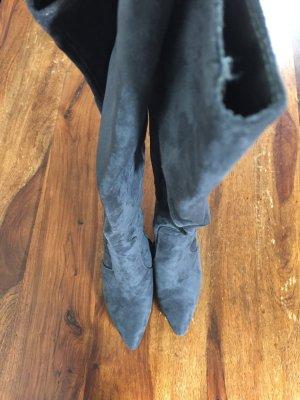 Edle graue Overknee Stiefel grau ❤️ Veloursleder ❤️