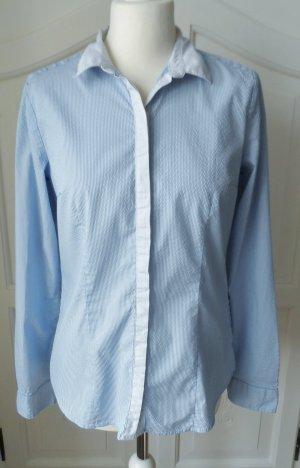edle H&M Bluse Gr. 42 (40) Hellblau Offwhite wenig getragen