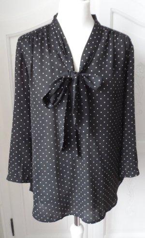 edle H&M Chiffon Schluppen Bluse Gr. 42 Schwarz mit weißen Punkten