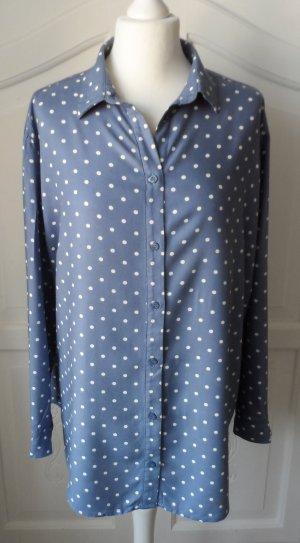 edle H&M Viscose Bluse Gr. 40 / 42 Graublau mit weißen Punkten