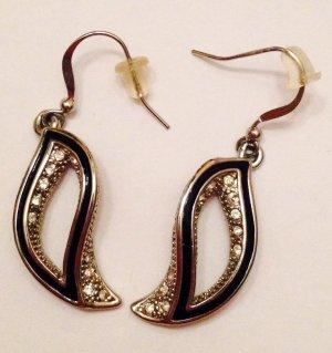 edle hängende Ohrringe silber/schwarz