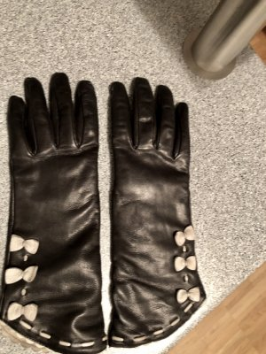 Twin set Leather Gloves black-natural white leather