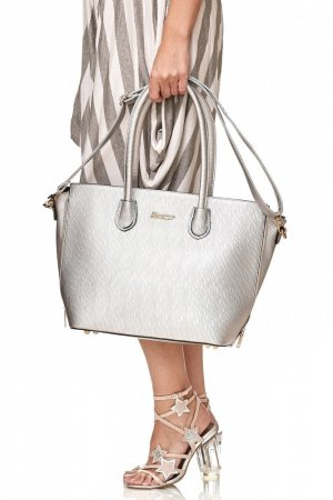 Carry Bag silver-colored-gold-colored imitation leather